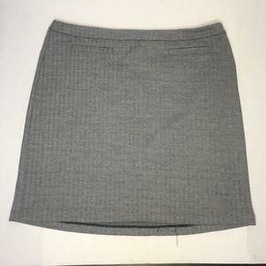 Talbots Grey Herringbone Pencil Skirt With Pockets